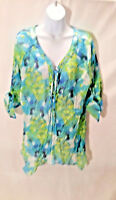 Grand & Greene Women's Blouse Top 3/4 Sleeve Multi-color Sheer Size XL A1