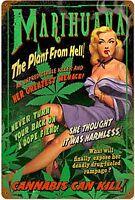 Marijuana il Pianta da Hell Insegna Acciaio 440mm x 290mm (Pst)