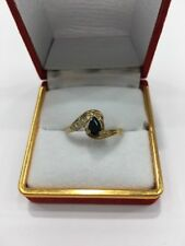 9ct (375) Yellow Gold Ring With A Pear Shape Sapphire And Diamonds