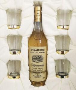Confezione Regalo NARDINI GRAPPA Aquavite di Vinaccia Riserva 35cl + 6 Bicchieri