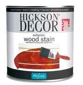 Hickson Decor Exterior Woodstain 1 Litre windows doors cladding fascia 9 Colours