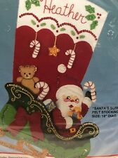 Santas Surprises Felt Appliqué Christmas Stocking Kit 82729 Sleigh Toys Gifts