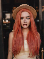 """Pre Plucked Orange Glueless Long Stright Synthetic Lace Front Wig for Women 24 """""""