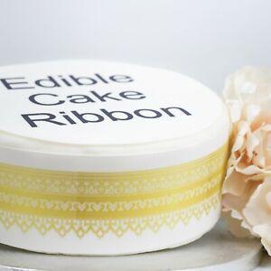 Gold Trim Edible Icing Cake Ribbon / Side Strips (3 strips)