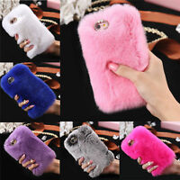Warm Soft Faux Furry Fur Phone Cover Diamond Skin Case For iPhone 5/5S/6/6 Plus