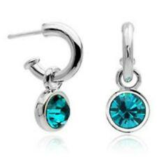 White Gold finish turquoise half hoop earrings quality jewellery gift UK seller