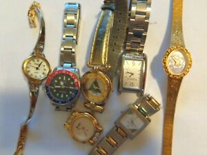 LOT 7 WOMEN WATCH CASSINI GENEVE COLE HEBROS RUSAND REPAIR NEED BATTERY OR PARTS
