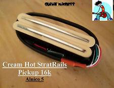 G.M. Hot Railcasters Cream Strat Sized Humbucker Rail pickups Alnico 5