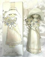 "Vintage Enesco Kinka Porcelain Girl With Hat And Flowers 9"" Figurine #117757 NEW"
