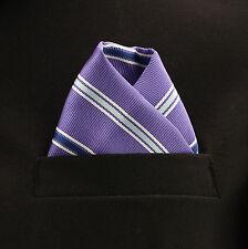 "Pocket Square Mens Hanky Purple White Striped 10"" Dress Suit Handkerchief New"