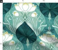 Nouveau Art Dragonfly Watercolour Deco Teal Aqua Spoonflower Fabric by the Yard