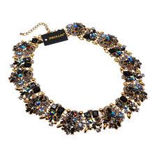 Fashion Gold Chain Brown Glass Beads Crystal Rhinestone Choker Pendant Necklace