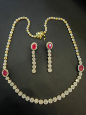 Pave 10.79 Cts Natural Diamonds Ruby Necklace Earrings Set In Certified 14K Gold