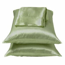 2 Pieces of 350TC Solid Sage Green Soft Silk~y Satin Pillow Case King Size