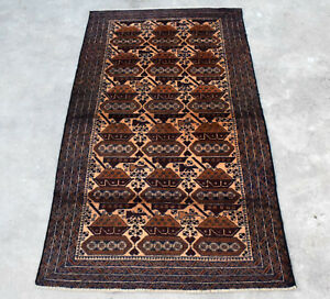 7x4 Hand Knotted War Rug Handmade Baluchi Brown Handwoven Pictorial Afghan Tank