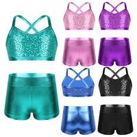 Kids Girls Sports Dance Outfit Bra Crop Top+Shorts Leotards Gymnastics Dancewear