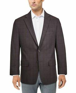 Michael Kors Kelson Men's Modern-Fit Plaid Patterned Blazer in Purple/Red-44R
