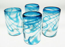 Mexican Glass, Turquoise Fused Swirl tumblers, hand blown, 16 oz, set of 4