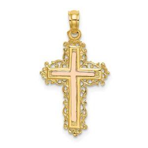 14k Two-tone Gold Cross w/ Lace Trim Pendant