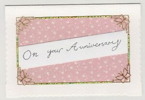 Blank Handmade Greeting Card ~ ON YOUR ANNIVERSARY with CORNER BUTTERFLIES