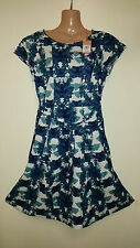 White Stuff Crusoe Floral Lined Summer Dress Cobalt Blue 8