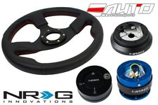 NRG 320 Race Leather Steering Wheel Red/100 Hub/2.0 Blue Quick Release/Lock Matt