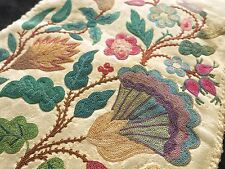 Sublime c1750 Antique 18thC Chain Stitch Embroidery Doeskin Bag Jacobean Florals
