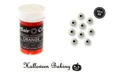 Sugarflair ORANGE Pastel Paste Gel & Eye Balls Toppers For Halloween Decoration