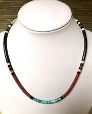 "Santo Domingo Turquoise Jet Shell Heishi Necklace 18.25"" - Delbert Crespin"