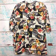 Kalaheo Fighter Plane Floral Mens Hawaiian Shirt XL Extra Large Hula Girl USA