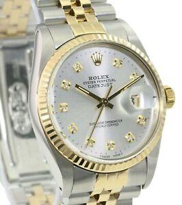 Rolex Mens Datejust Two-tone 36mm Silver Diamond Dial 18K Gold Bezel Watch
