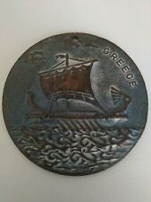 New listing Bronze Medallion of Greek Ship very old signed 1947 in back see photos