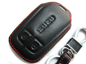 Black Leather Car Remote Control Key Shell Case For 2012+ Isuzu Dmax D-max 13 14
