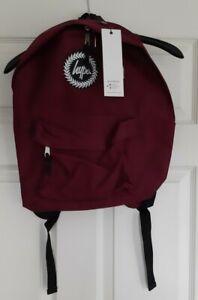 BNWT Hype Basics Burgundy Backpack Bag Just Hype-Badge- Back to school