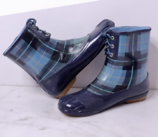 Sperry Top Sider Herring Rubber Navy Blue Plaid Women's Rain Boots Size 8 M new