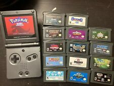 Nintendo Game Boy Advance SP Handheld Console - Onyx Black, with 15 games