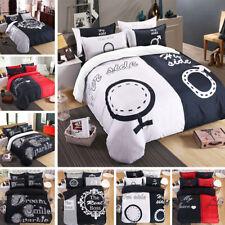 Duvet Quilt Cover Couple Bedding Set Sheet Double Queen King Size Pillow Case