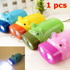 Lovely Hand Pressing Power 2 LED Pig Flashlight Wind-up Dynamo Torch Lamp