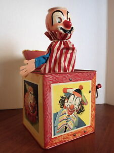 Vintage 1961 Matty Mattel JACK IN THE BOX Circus Clowns WORKS GREAT Missing Arm