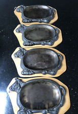 Lot Of 4 Vintage Cast Iron Bull Steak Warming Sizzler Plates Cattle Steer