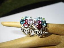 Rainbow Multi Gem Topaz Garnet Citrine 24- Estate 925 Sterling Silver Earrings