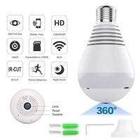 HD 1080P 360 Panoramic Hidden Wifi IP Camera Light Bulb Home Security Lamp Cam