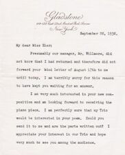 CARL FRIEDBERG Pianist 2 page typed letter signed 1938 - Scarce