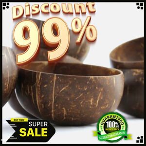✅⭐✅Vintage Wooden Coconut Shell Bowl Natural Toxic Free Food Dessert Traditional