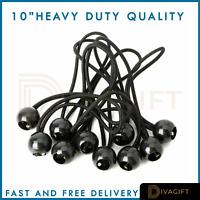"""Heavy Duty 4""""- 10"""" Elastic Black Ball Bungees Tarp-Tent Shock Cord Loop Tie Down"""