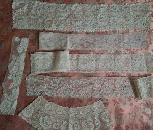 6 Wide Alencon French Antique Lace Trim vintage YARDS edging lot