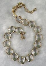 "NEW J. CREW OVERSIZE SQUARE GLASS CRYSTAL LINK STATEMENT NECKLACE 17.5"" x 5/8"""