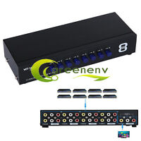 8 Port Input 1 Output Audio Video AV RCA Switch Box 8 Ways Selector Box