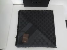 GUCCI LUXURY Damen Schal Tuch Wolle Seide DARK GREY BLACK GG-Muster 140x140 cm