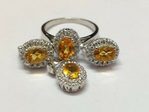 Silver Citrine Jewelry Set Solitaire 3.2 Ct Natural Citrine Set